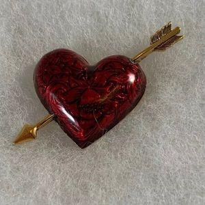 VTG 90s AVON Hearts Afire Ruby Red Brooch Pin